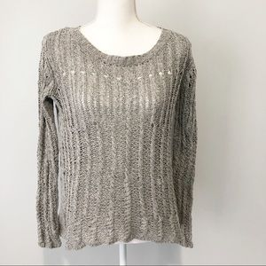 Theory gray crocheted sweater scoop neck small